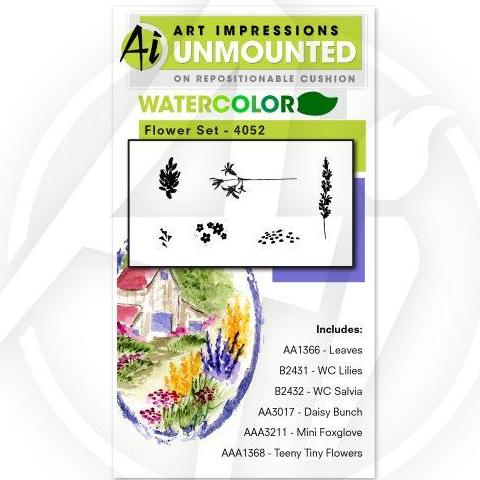 Art Impressions - Watercolor Cling Rubber Stamp Set - FLOWER Set 1