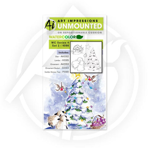 Art Impressions - Watercolor Cling Rubber Stamp Set - Series 4 Set 2