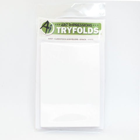 Art Impressions - WHITE TRYFOLDS Cardstock & Envelope 8 Pack *