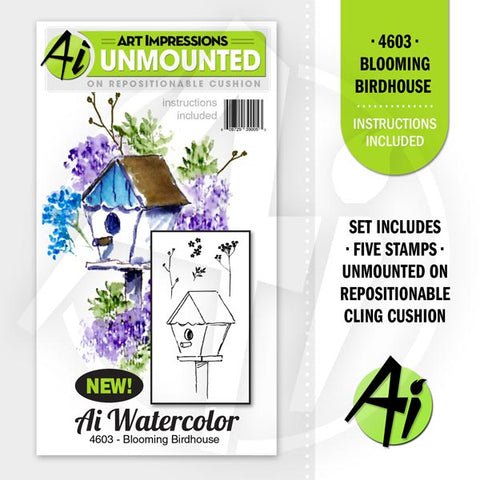 Art Impressions - Cling Rubber Stamp Set - BLOOMING BIRDHOUSE *
