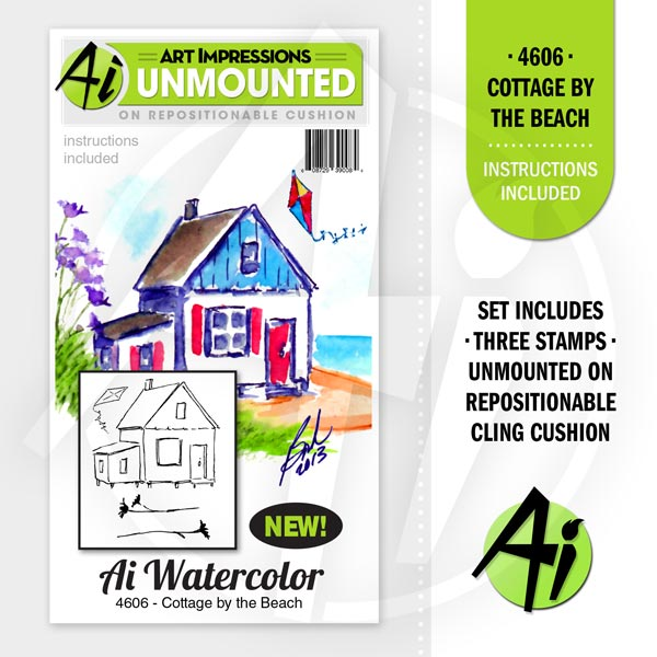 Art Impressions - Watercolor Cling Rubber Stamp Set - Cottage By The Beach *