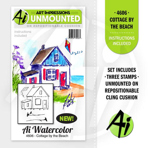 Art Impressions - Watercolor Cling Rubber Stamp Set - Cottage By The Beach