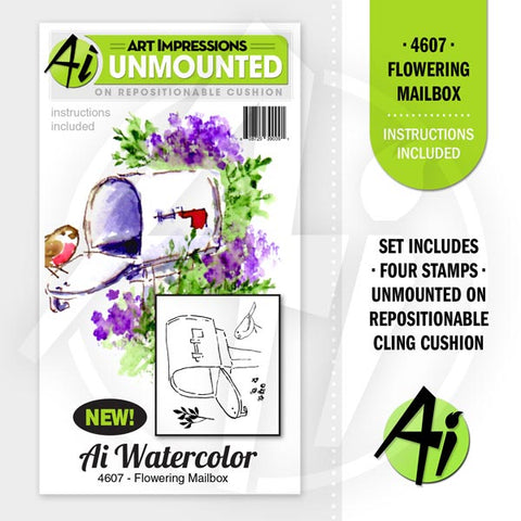 Art Impressions - Cling Rubber Stamp Set - FLOWERING MAILBOX