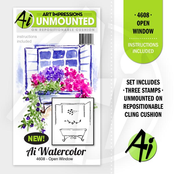 Art Impressions - Watercolor Cling Rubber Stamp Set - Open Window *
