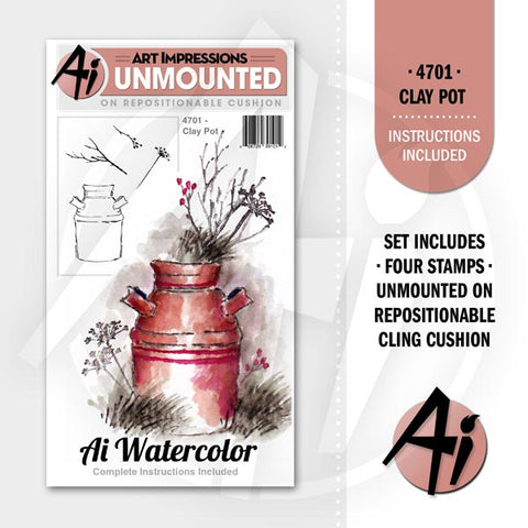Art Impressions - Cling Rubber Stamp Set - CLAY POT *