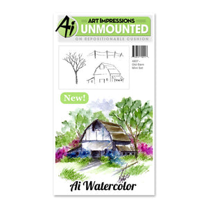Art Impressions - Watercolor Cling Rubber Stamp Set - Old Barn Mini Set