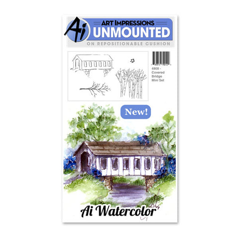 Art Impressions - Cling Rubber Stamp Set - COVERED BRIDGE Mini Set - Watercolor