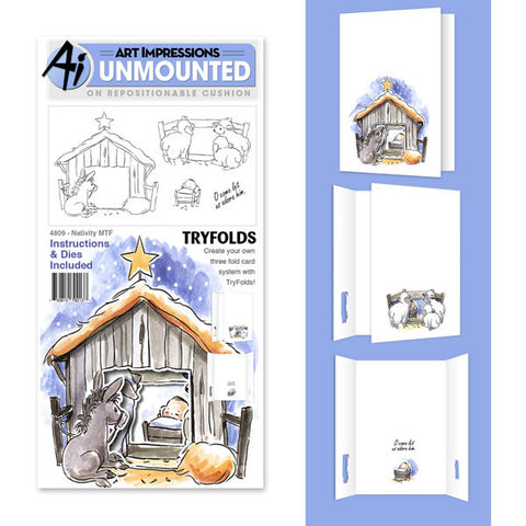 Art Impressions - Tryfold Stamp & Die Set  - NATIVITY - Hallmark Scrapbook - 1