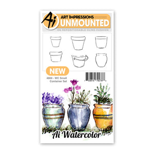 Art Impressions - Watercolor Cling Rubber Stamp Set - SMALL CONTAINER