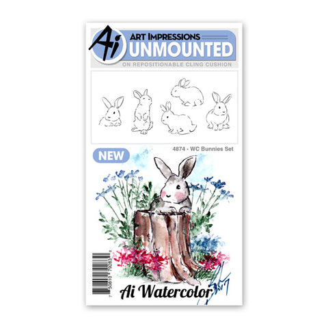 Art Impressions - Watercolor Cling Rubber Stamp Set - BUNNIES