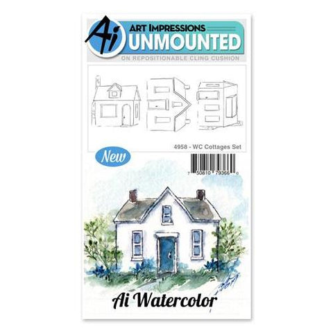 Art Impressions - Watercolor Cling Rubber Stamp Set - COTTAGE