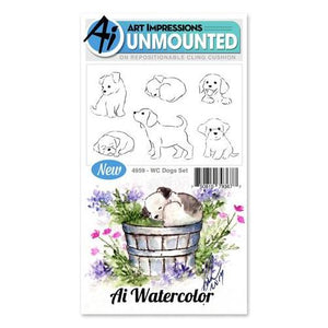 Art Impressions - Watercolor Cling Rubber Stamp Set - DOGS