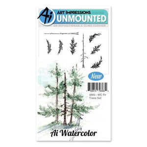 Art Impressions - Watercolor Cling Rubber Stamp Set - FIR TREES