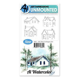 Art Impressions - Watercolor Cling Rubber Stamp Set - Mini COTTAGES