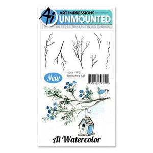 Art Impressions - Watercolor Cling Rubber Stamp Set - BRANCHES