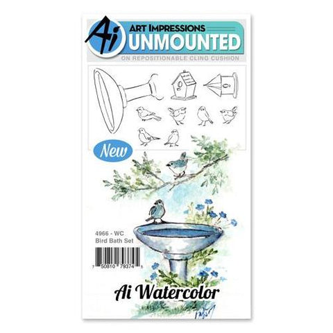 Art Impressions - Watercolor Cling Rubber Stamp Set - BIRD BATH