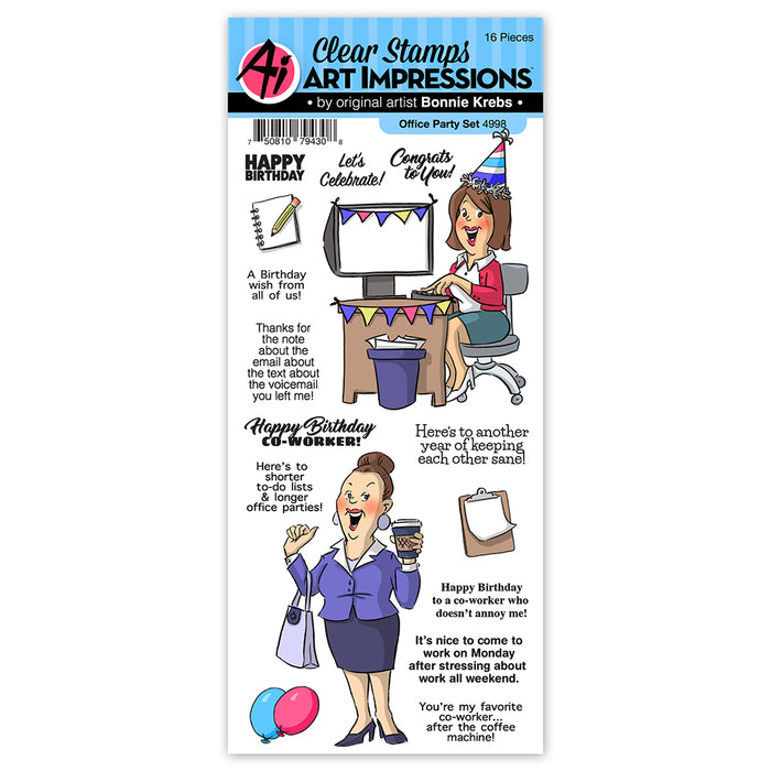 Art Impressions - Cling Rubber Stamp Set - OFFICE PARTY