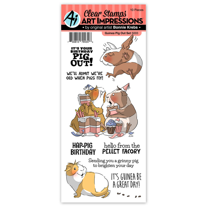 Art Impressions - Cling Rubber Stamp Set - GUINEA PIG OUT