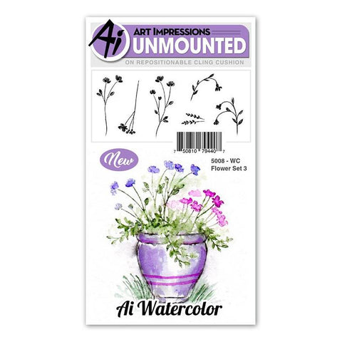 Art Impressions - Cling Rubber Watercolor Stamp Set - FLOWER SET 3