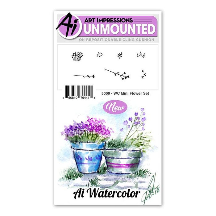 Art Impressions - Cling Rubber Watercolor Stamp Set - MINI FLOWER Set