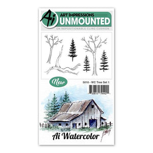 Art Impressions - Cling Rubber Watercolor Stamp Set - TREE Set