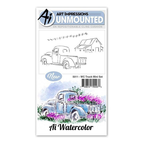 Art Impressions - Cling Rubber Watercolor Stamp Set - TRUCK Mini Set