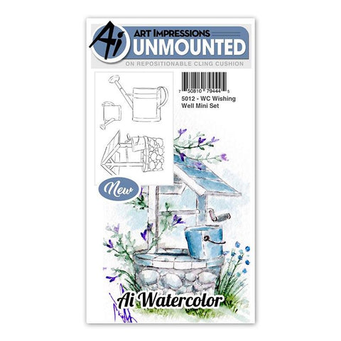 Art Impressions - Cling Rubber Watercolor Stamp Set - WISHING WELL Mini Set