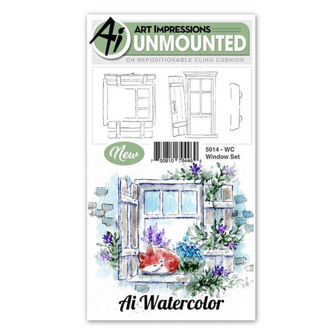 Art Impressions - Cling Rubber Watercolor Stamp Set - WINDOW Set