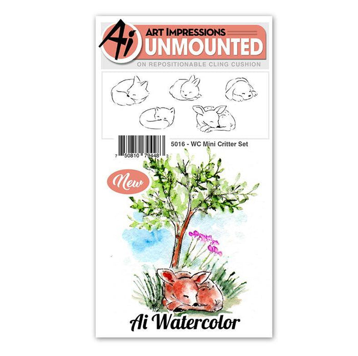 Art Impressions - Cling Rubber Watercolor Stamp Set - MINI CRITTER Set