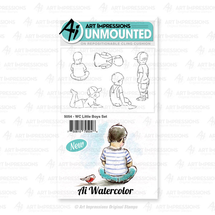 Art Impressions - Cling Rubber Watercolor Stamp Set - LITTLE BOYS