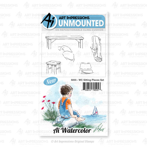 Art Impressions - Cling Rubber Watercolor Stamp Set - SITTING PLACES