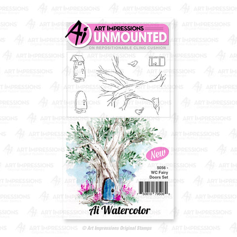 Art Impressions - Cling Rubber Watercolor Stamp Set - FAIRY DOORS