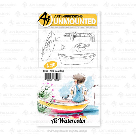 Art Impressions - Cling Rubber Watercolor Stamp Set - BOAT
