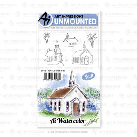 Art Impressions - Cling Rubber Watercolor Stamp Set - CHURCH
