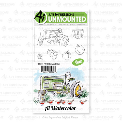 Art Impressions - Cling Rubber Watercolor Stamp Set - HARVEST