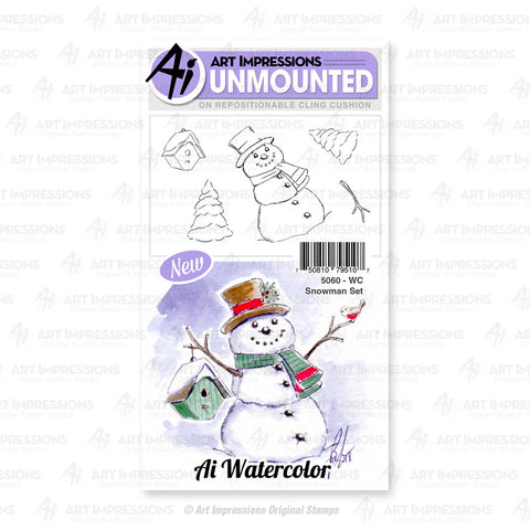Art Impressions - Cling Rubber Watercolor Stamp Set - SNOWMAN