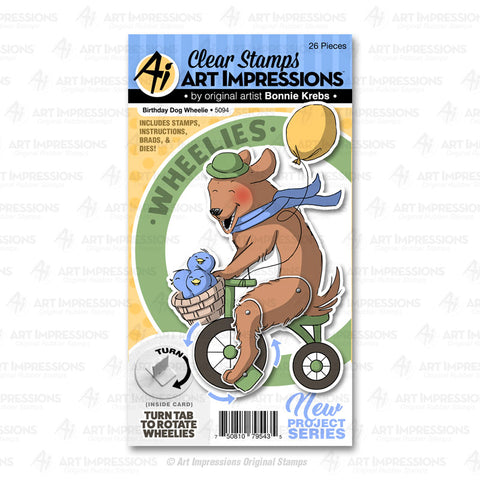 Art Impressions - BIRTHDAY DOG Wheelie - Stamp and Die Set - 30% OFF!