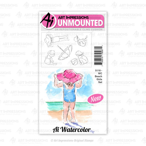 Art Impressions - Cling Rubber Watercolor Stamp Set - BEACH GIRLS