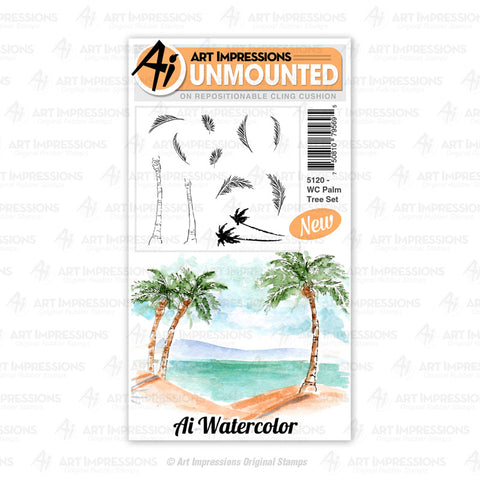 Art Impressions - Cling Rubber Watercolor Stamp Set - PALM TREE