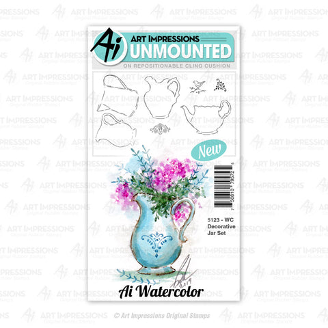 Art Impressions - Cling Rubber Watercolor Stamp Set - DECORATIVE JAR