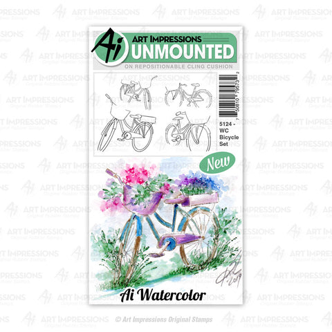 Art Impressions - Cling Rubber Watercolor Stamp Set - BICYCLE
