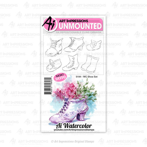 Art Impressions - Cling Rubber Watercolor Stamp Set - SHOE