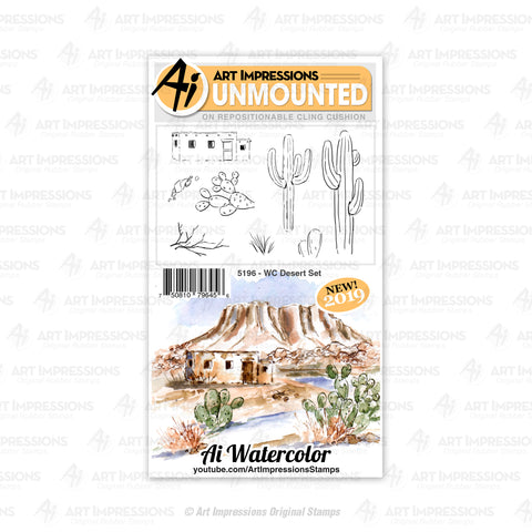 Art Impressions - Cling Rubber Watercolor Stamp Set - DESERT