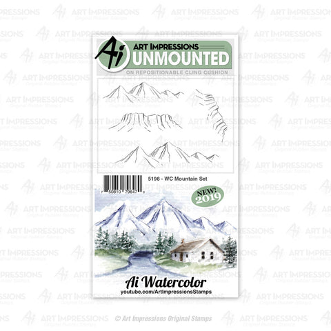 Art Impressions - Cling Rubber Watercolor Set - MOUNTAIN