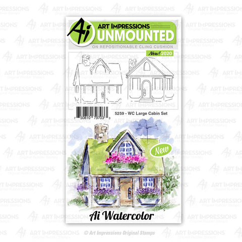 Art Impressions - Cling Rubber Watercolor Stamp Set - LARGE CABIN Set