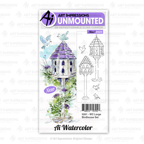 Art Impressions - Cling Rubber Watercolor Stamp Set - LARGE BIRDHOUSE Set