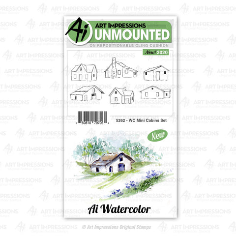 Art Impressions - Cling Rubber Watercolor Stamp Set - MINI CABINS Set