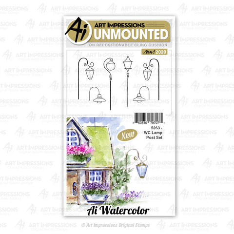 Art Impressions - Cling Rubber Watercolor Stamp Set - LAMP POST Set