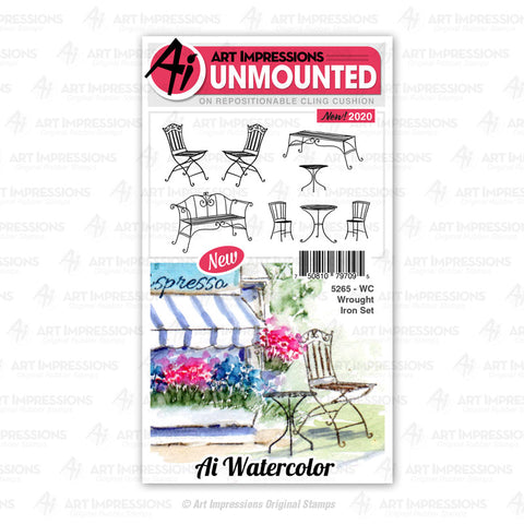 Art Impressions - Cling Rubber Watercolor Stamp Set - WROUGHT IRON Set