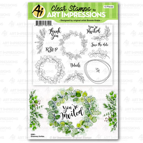 Art Impressions - GREENERY Invites - Stamp Set